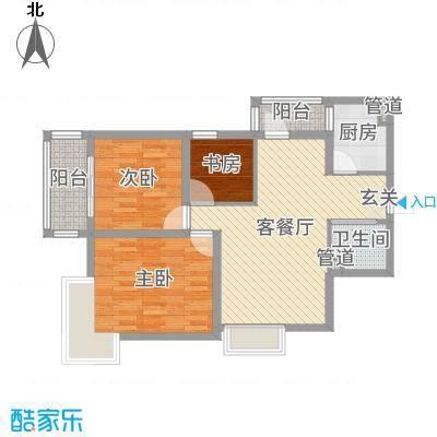 春晓华苑83.64㎡一期1号楼P户型3室3厅1卫1厨