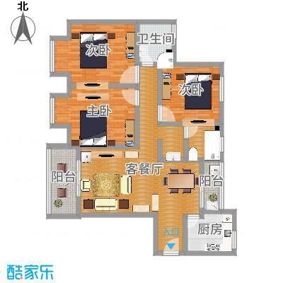 银康苑(三室一厅1)(青木香居新中式)3D