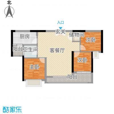中山海雅君悦花园104.00㎡2栋02户型3室3厅1卫1厨