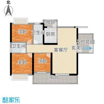 中山海雅君悦花园129.00㎡2栋01户型3室3厅2卫1厨