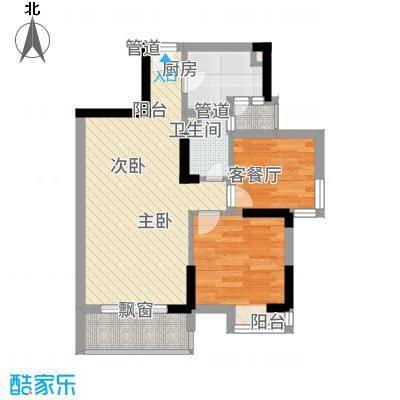 信德华府62.11㎡二期高层18#-23#、26#楼D4户型2室2厅1卫1厨-副本