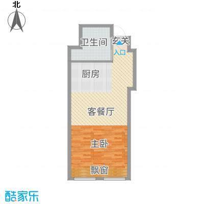 兴泰东河湾65.00㎡公寓B户型1室1厅1卫1厨