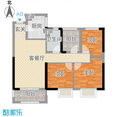 中海凤凰熙岸96.00㎡11、15#标准层户型3室3厅1卫1厨