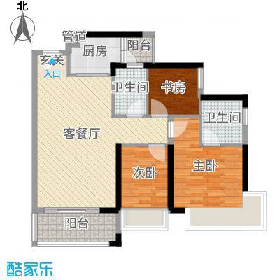 雅居蓝湾92.58㎡博雅轩05户型3室3厅2卫1厨
