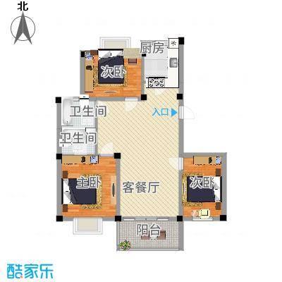 如意金水湾111.66㎡户型3室2厅2卫-副本