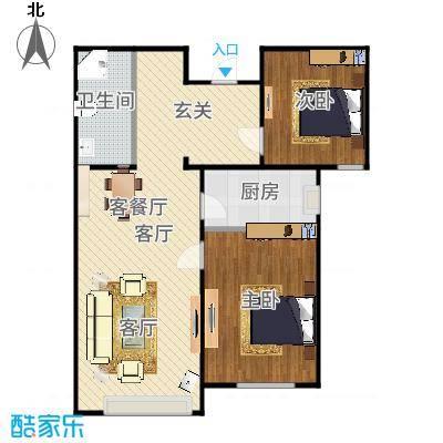 住总众邦长安生活港105方ZB1户型两室两厅-副本