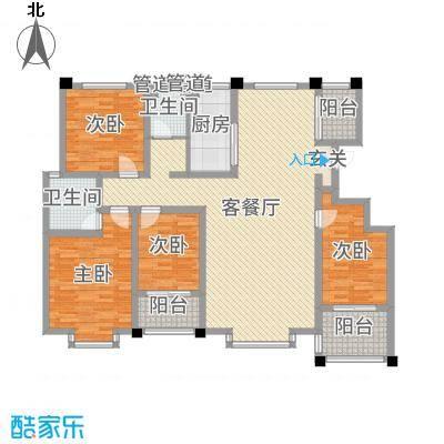 豪门又一城165.00㎡一期59#、60#楼标准层F户型4室4厅2卫1厨