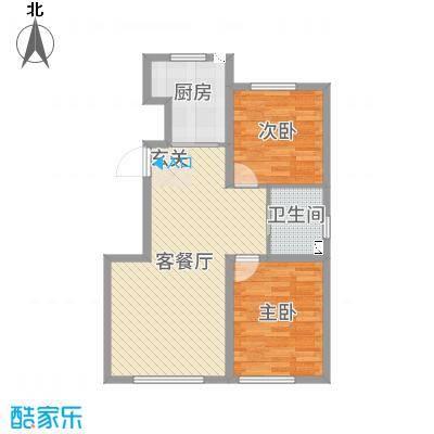 领秀蓝珀湖89.00㎡高层K户型2室2厅1卫1厨