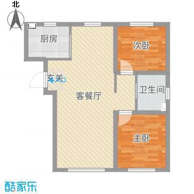 领秀蓝珀湖89.00㎡高层J户型2室2厅1卫1厨