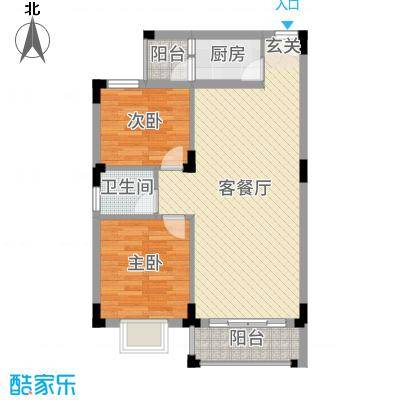 丽的花园94.72㎡12座a单元户型3室3厅2卫