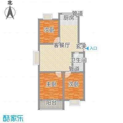 河畔景苑118.71㎡40号楼标准层A户型3室3厅1卫1厨