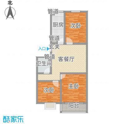 河畔景苑104.51㎡40号楼标准层E户型3室3厅1卫1厨