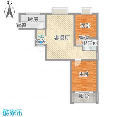 河畔景苑102.84㎡35号楼标准层B户型2室2厅1卫1厨