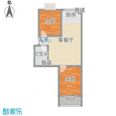 河畔景苑88.99㎡40号楼标准层C户型2室2厅1卫1厨