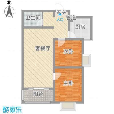 河畔景苑88.70㎡35号楼标准层C户型2室2厅1卫1厨