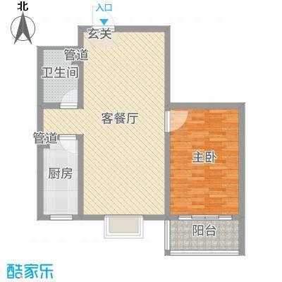 河畔景苑80.00㎡40号楼标准层B户型1室1厅1卫1厨