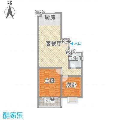 河畔景苑92.68㎡40号楼标准层D户型2室2厅1卫1厨