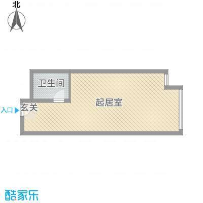 富强城58.07㎡305#楼标准层K户型1室1厅1卫1厨
