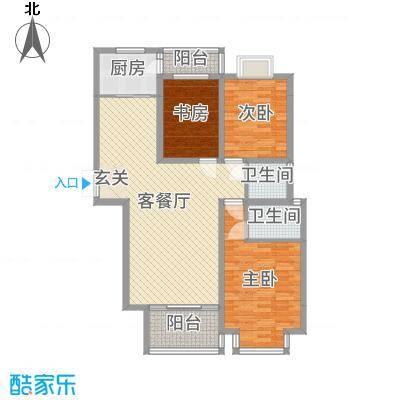 信达丽城二期124.29㎡G户型3室3厅2卫1厨