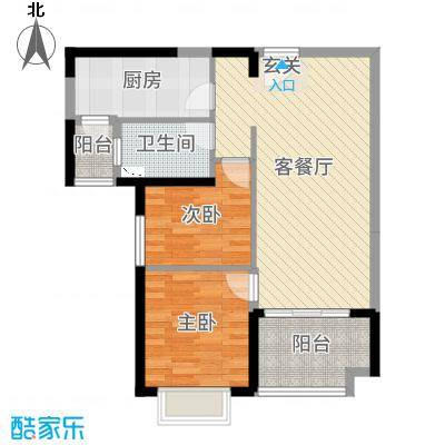 恒大绿洲80.09㎡7号楼02户型2室2厅1卫