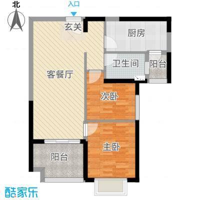 恒大绿洲80.08㎡7号楼03户型2室2厅1卫1厨