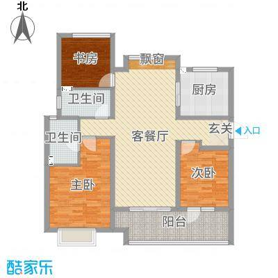 九龙仓碧堤半岛123.00㎡60#高层C户型3室3厅2卫1厨