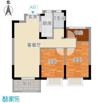 恒威国际城90.00㎡二期A1'户型3室3厅1卫1厨