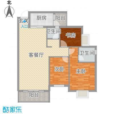 聚福新城116.65㎡E33户型2室2厅2卫1厨