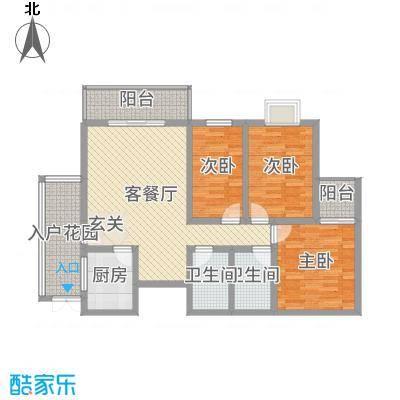 中力广场117.50㎡B区户型3室3厅2卫1厨
