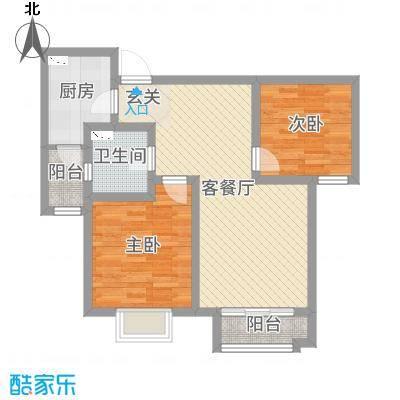 卓达太阳城90.69㎡3期29号楼29-1/2-02户型2室2厅1卫1厨