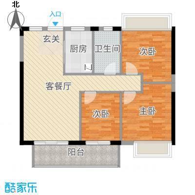 金辉城89.00㎡高层A2(31#)户型3室3厅1卫1厨