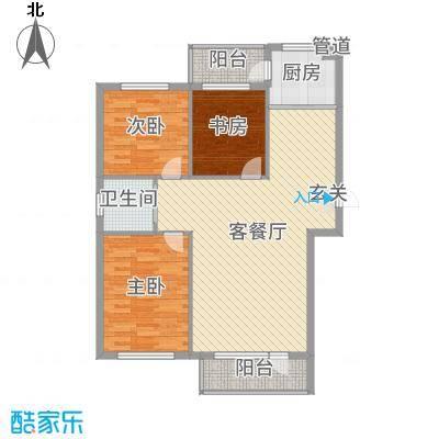 金海明珠103.00㎡9号楼A户型2室2厅1卫1厨