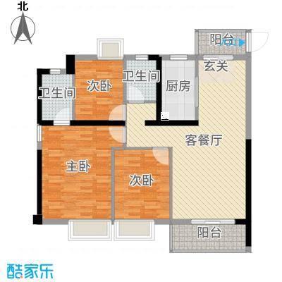 金辉城108.00㎡高层A1(31#)户型3室3厅2卫1厨