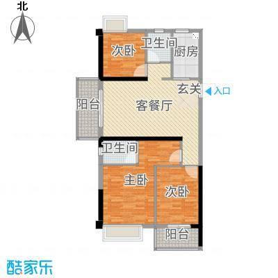 金辉城108.00㎡高层A1-1(31#)户型3室3厅2卫1厨