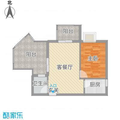 天源海景52.15㎡A2栋072015-10-8户型1室1厅1卫1厨