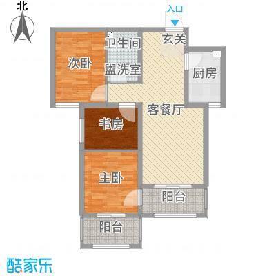 坤泽-翰林华府86.00㎡D户型3室3厅1卫1厨