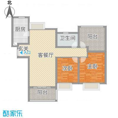 九龙仓碧堤半岛115.00㎡63#69#精装高层标准层A2户型2室2厅1卫1厨