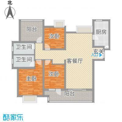 九龙仓碧堤半岛142.00㎡63#69#精装高层标准层A1户型3室3厅2卫1厨