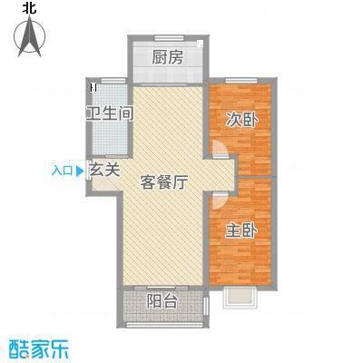 万泰・香河佳园107.11㎡C户型2室2厅1卫1厨