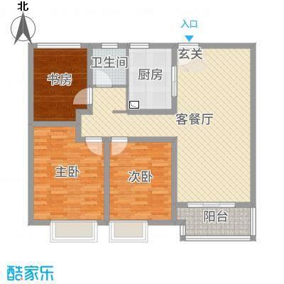 九龙仓碧堤半岛102.00㎡65#高层精装A3户型3室3厅1卫1厨
