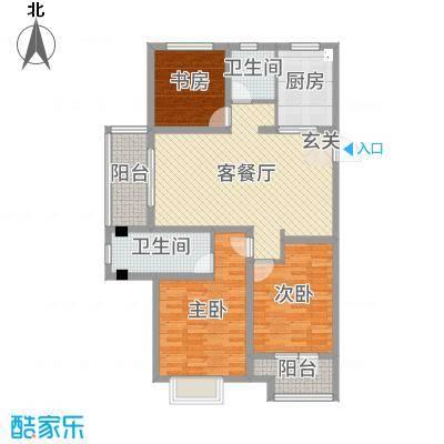 九龙仓碧堤半岛113.00㎡60#高层B户型3室3厅2卫1厨