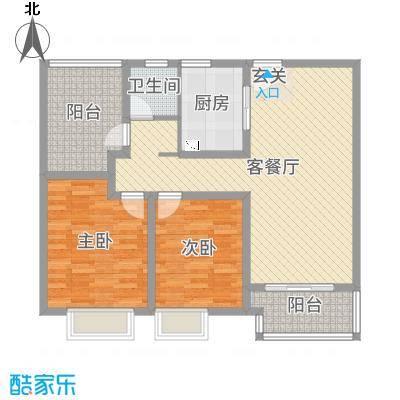 九龙仓碧堤半岛102.00㎡63#69#精装高层标准层A3户型2室2厅1卫1厨