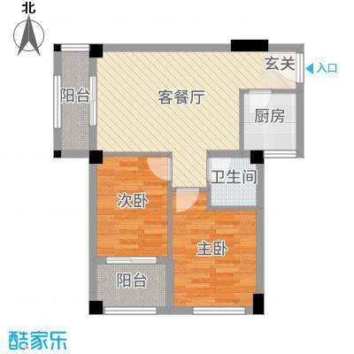 明珠城70.00㎡B2户型2室2厅1卫1厨