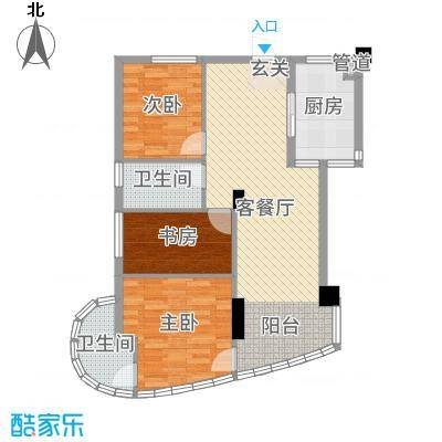 麓山枫情二期88.41㎡4栋4-B2户型3室3厅2卫1厨