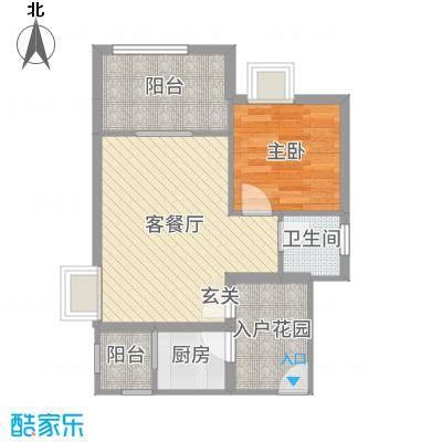 天源海景54.56㎡A2栋03/042015-10-8户型1室1厅1卫1厨
