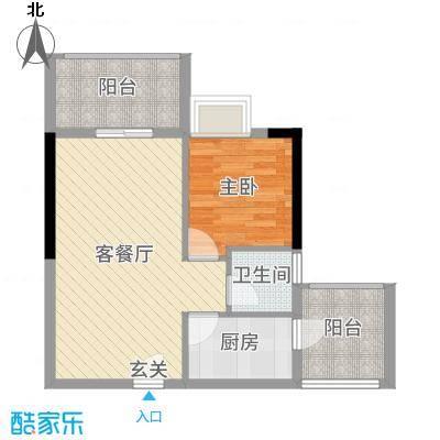 天源海景55.08㎡D2栋-设计-1户型1室1厅1卫1厨