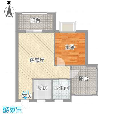 天源海景56.88㎡A2栋092015-10-8户型1室1厅1卫1厨
