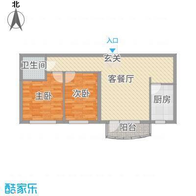 金海明珠80.00㎡27、28号楼C2户型2室2厅1卫1厨