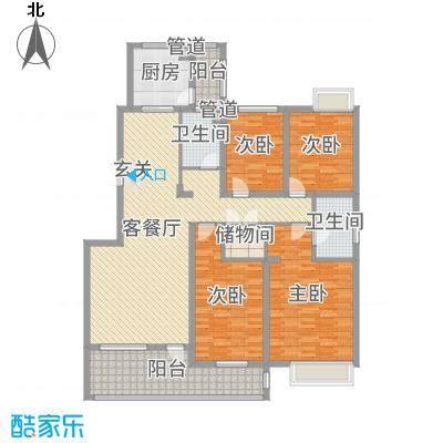 中兴・和园162.00㎡洋房奇数层D1户型4室4厅2卫1厨