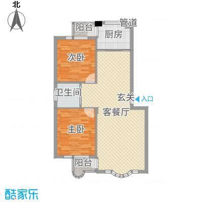金海明珠86.00㎡18号楼A户型2室2厅1卫1厨